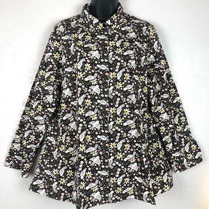 TULIP black robin bird oversized blouse shirt Sz S